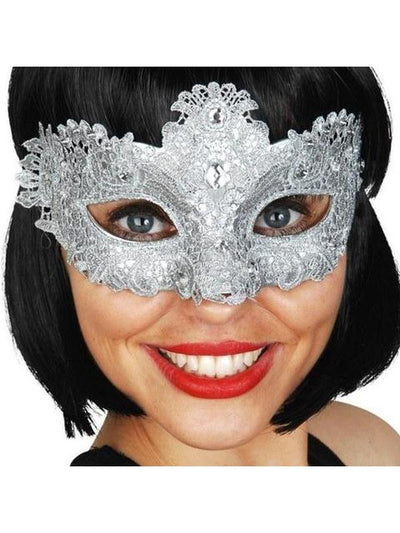 Crystal Lace Eye Mask-Masks - Masquerade-Jokers Costume Hire and Sales Mega Store