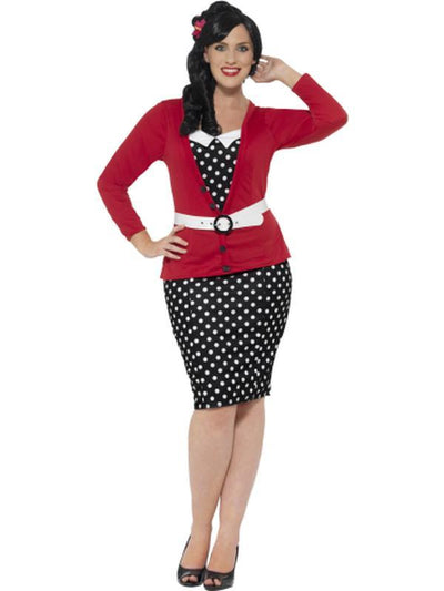Curves 50s Pin Up Costume, Black & Red-Jokers Costume Mega Store