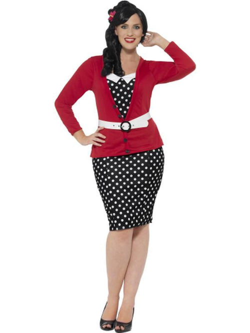 Curves 50s Pin Up Costume, Black & Red-Costumes - Women-Jokers Costume Hire and Sales Mega Store