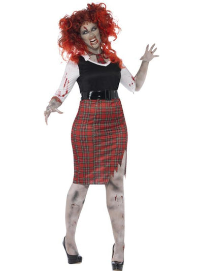 Curves Zombie School Girl Costume-Costumes - Women-Jokers Costume Hire and Sales Mega Store