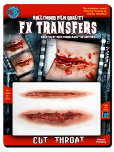Cut Throat - 3D FX Transfer - Medium-Halloween Makeup & Special FX-Jokers Costume Hire and Sales Mega Store