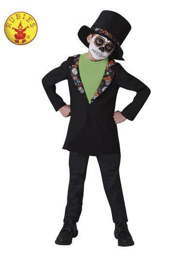 DAY OF THE DEAD BOYS COSTUME - SIZE L 7-8yr-Costumes - Boys-Jokers Costume Hire and Sales Mega Store