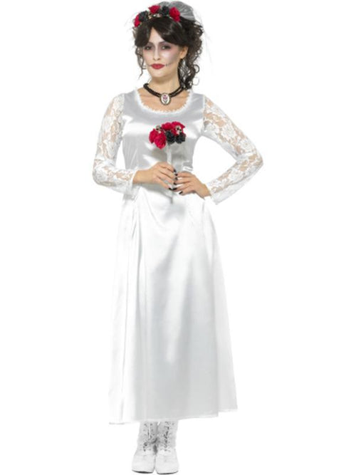 Day of the Dead Bride Costume, White-Costumes - Women-Jokers Costume Hire and Sales Mega Store