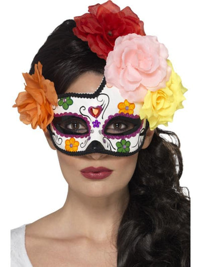 Day of the Dead Crescent Eyemask-Masks - Masquerade-Jokers Costume Hire and Sales Mega Store