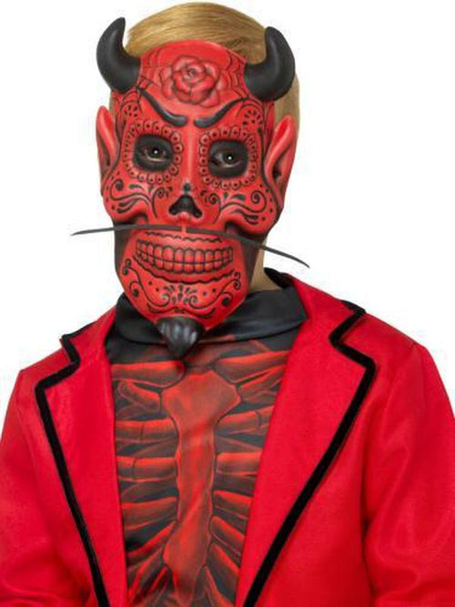 Day of the Dead Devil Mask, Childs-Masks - Masquerade-Jokers Costume Hire and Sales Mega Store