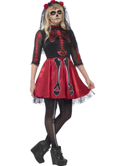 Day Of The Dead Diva Costume, Black-Costumes - Women-Jokers Costume Hire and Sales Mega Store