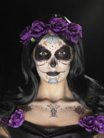Day of the Dead Face Tattoo Transfers Kit - Multicolour-Make up and Special FX-Jokers Costume Hire and Sales Mega Store