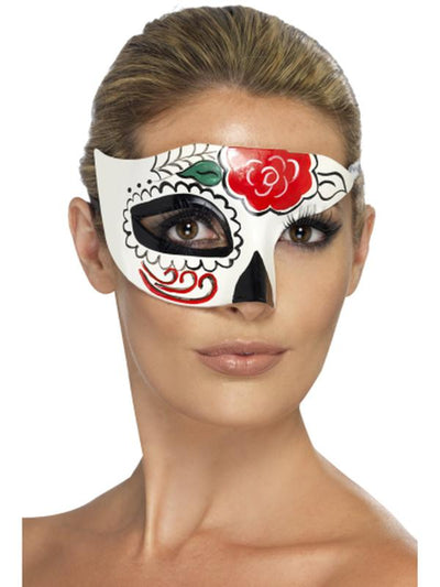 Day of the Dead Half Eye Mask-Masks - Masquerade-Jokers Costume Hire and Sales Mega Store