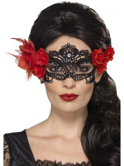 Day of the Dead Lace Filigree Eyemask-Masks - Masquerade-Jokers Costume Hire and Sales Mega Store