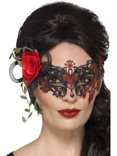 Day of the Dead Metal Filigree Eyemask-Masks - Masquerade-Jokers Costume Hire and Sales Mega Store