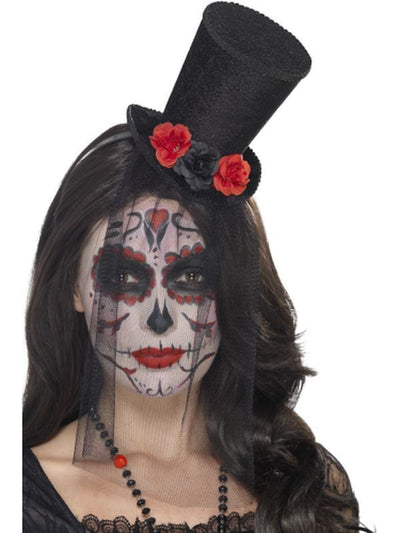 Day of the Dead Mini Top Hat-Hats and Headwear-Jokers Costume Hire and Sales Mega Store