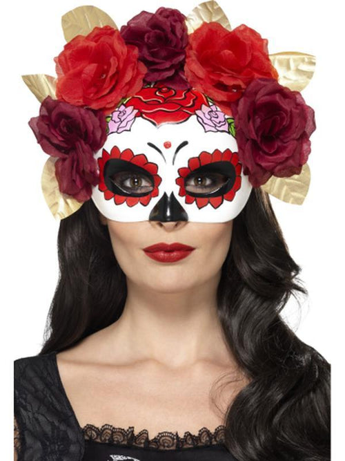 Day of the Dead Rose Eyemask-Masks - Masquerade-Jokers Costume Hire and Sales Mega Store