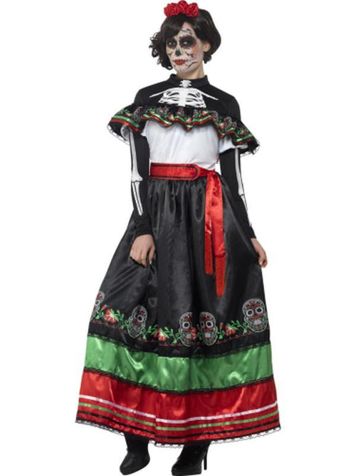 Day of the Dead Se±orita Costume, Multi-Coloured-Costumes - Women-Jokers Costume Hire and Sales Mega Store