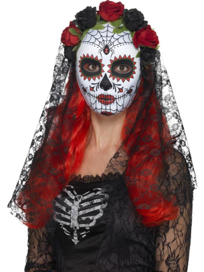 Day of the Dead Senorita Mask-Masks - Masquerade-Jokers Costume Hire and Sales Mega Store