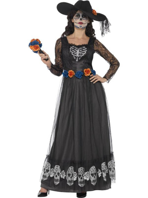 Day of the Dead Skeleton Bride Costume, Black-Costumes - Women-Jokers Costume Hire and Sales Mega Store