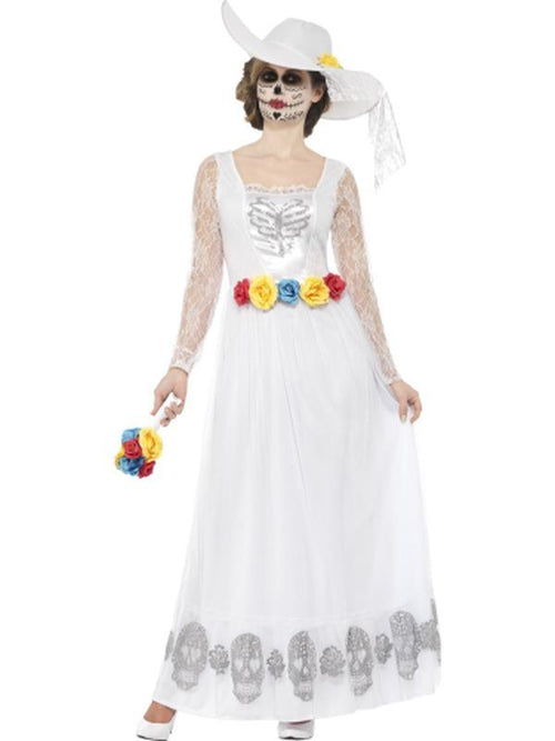 Day of the Dead Skeleton Bride Costume, White-Costumes - Women-Jokers Costume Hire and Sales Mega Store