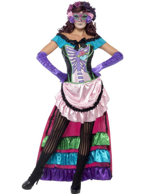 Day Of The Dead Sugar Skull Costume-Costumes - Women-Jokers Costume Hire and Sales Mega Store