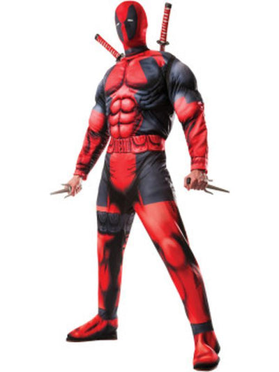 Deadpool Deluxe Adult - Size Std-Costumes - Mens-Jokers Costume Hire and Sales Mega Store