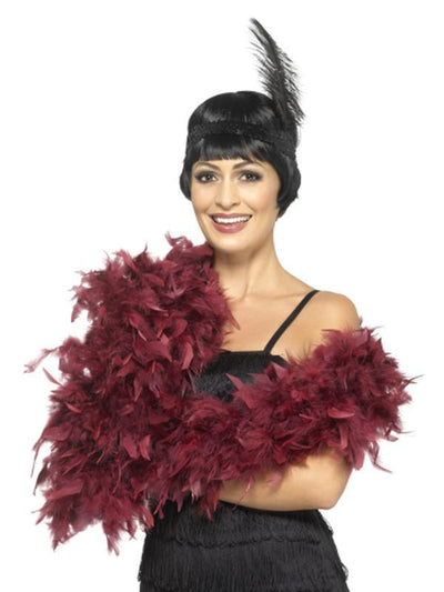 Deluxe Boa - Burgundy-Costume Accessories-Jokers Costume Hire and Sales Mega Store
