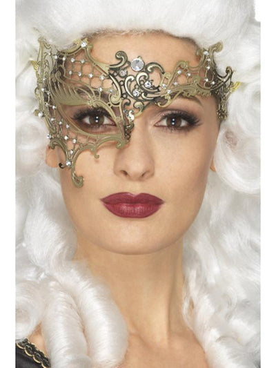 Deluxe Metal Filigree Half Eyemask-Masks - Masquerade-Jokers Costume Hire and Sales Mega Store