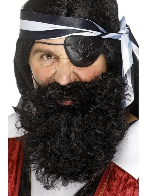 Deluxe Pirate Beard - Black-Beards and Moustaches-Jokers Costume Hire and Sales Mega Store