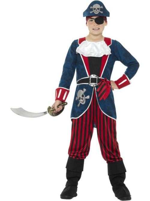 Deluxe Pirate Captain Costume, Blue & Red-Costumes - Boys-Jokers Costume Hire and Sales Mega Store