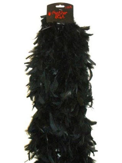 Deluxe Plush Turkey Boa 1.8m - BLACK-Hats and Headwear-Jokers Costume Hire and Sales Mega Store