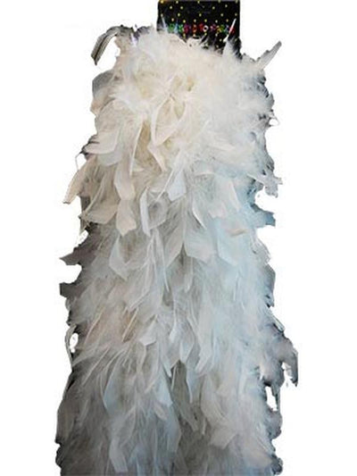 Deluxe Plush Turkey Boa 1.8m - WHITE-Hats and Headwear-Jokers Costume Hire and Sales Mega Store