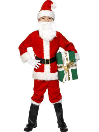 Deluxe Santa Costume & Beard-Costumes - Boys-Jokers Costume Hire and Sales Mega Store