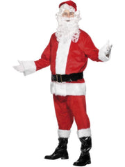 Deluxe Santa Costume, with Beard-Costumes - Mens-Jokers Costume Hire and Sales Mega Store