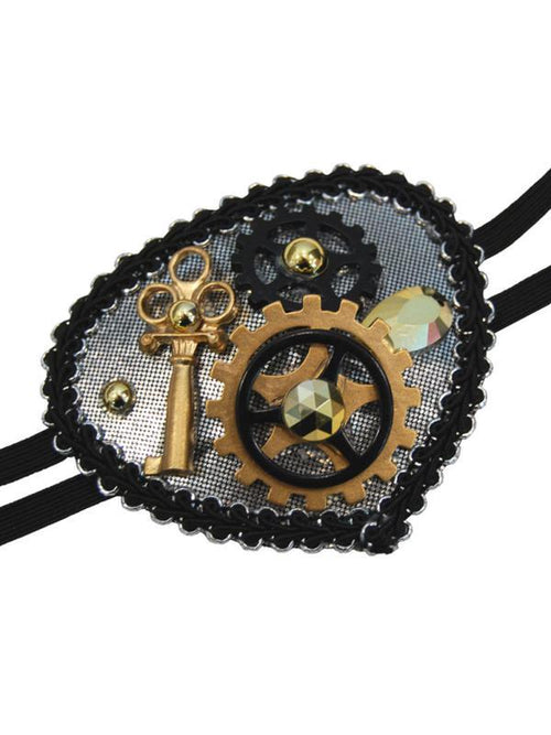 Deluxe Steampunk Eyepatch - Silver-Eyewear-Jokers Costume Hire and Sales Mega Store
