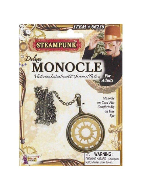 Deluxe Steampunk Monocle - Gold & Brass-Eyewear-Jokers Costume Hire and Sales Mega Store