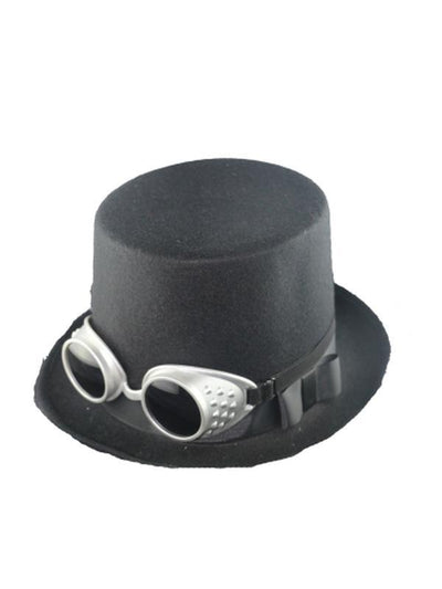 Deluxe Steampunk Top Hat w/Goggles-Hats and Headwear-Jokers Costume Mega Store