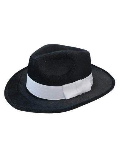 Deluxe Velour Gangster Hat - Black-Hats and Headwear-Jokers Costume Hire and Sales Mega Store