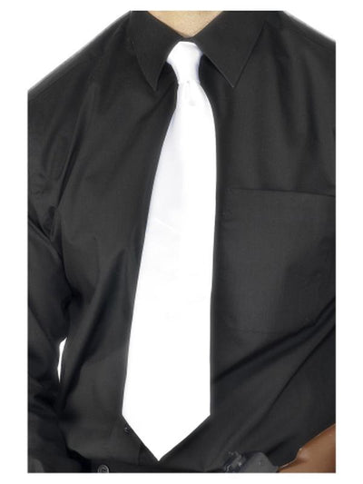 Deluxe White Gangster Tie-Costume Accessories-Jokers Costume Mega Store