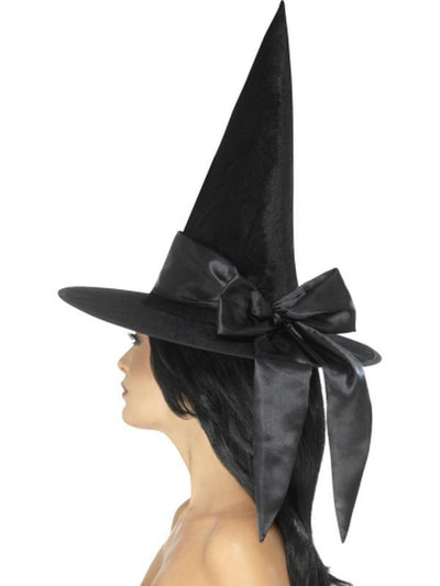 Deluxe Witch hat - Black with Black Bow-Hats and Headwear-Jokers Costume Hire and Sales Mega Store