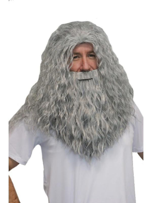 Deluxe Wizard Beard & Wig Set - Grey-Wigs-Jokers Costume Hire and Sales Mega Store