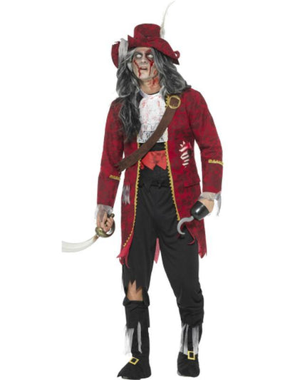 Deluxe Zombie Pirate Captain Costume, Latex-Costumes - Mens-Jokers Costume Hire and Sales Mega Store