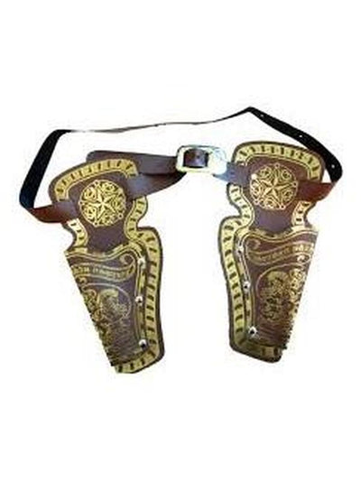 Double Gun Holsters - Brown-Weapons-Jokers Costume Hire and Sales Mega Store