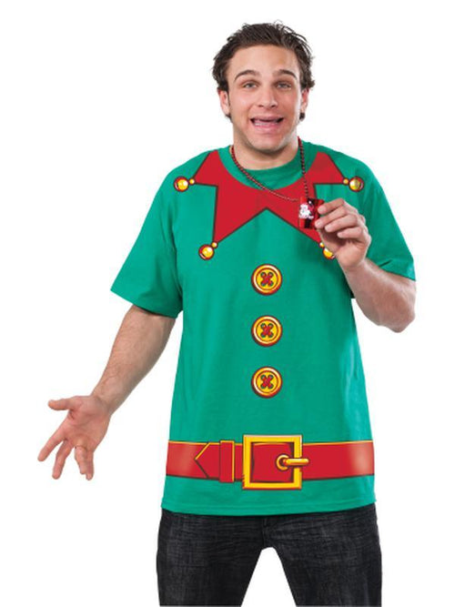 Elf Tshirt - Size L-Costumes - Mens-Jokers Costume Hire and Sales Mega Store