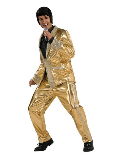 Elvis Gold Suit Collector'S Edition- Size Xl-Costumes - Mens-Jokers Costume Hire and Sales Mega Store