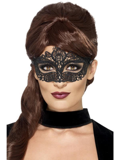 Embroidered Lace Filigree Eyemask - Black-Masks - Masquerade-Jokers Costume Hire and Sales Mega Store