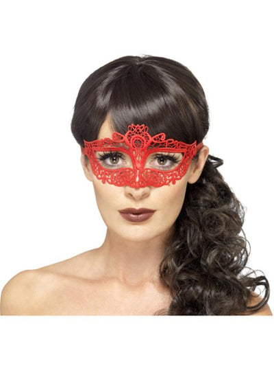 Embroidered Lace Filigree Eyemask - Red-Masks - Masquerade-Jokers Costume Hire and Sales Mega Store