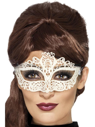 Embroidered Lace Filigree Eyemask - White-Masks - Masquerade-Jokers Costume Hire and Sales Mega Store