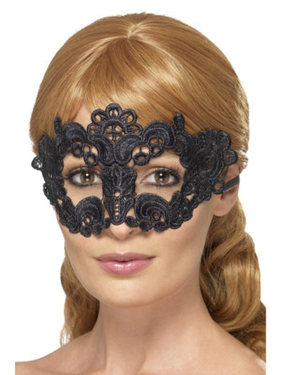 Embroidered Lace Filigree Floral Eyemask - Black-Masks - Masquerade-Jokers Costume Hire and Sales Mega Store