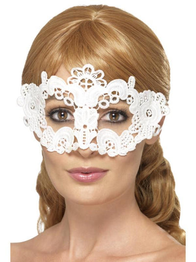 Embroidered Lace Filigree Floral Eyemask - White-Masks - Masquerade-Jokers Costume Hire and Sales Mega Store
