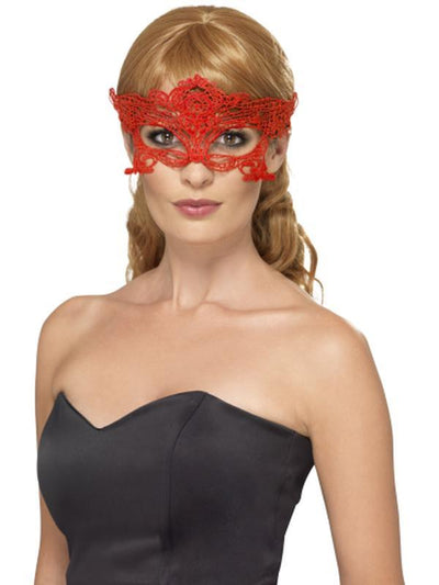 Embroidered Lace Filigree Heart Eyemask-Masks - Masquerade-Jokers Costume Hire and Sales Mega Store