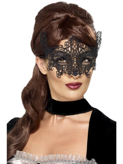 Embroidered Lace Filigree Swirl Eyemask-Masks - Masquerade-Jokers Costume Hire and Sales Mega Store