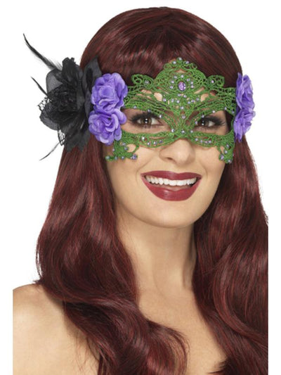 Embroidered Lace Filigree Witch Eyemask-Masks - Masquerade-Jokers Costume Hire and Sales Mega Store