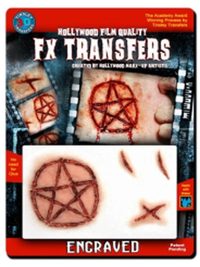 Engraved - 3D FX Transfer - Medium-Halloween Makeup & Special FX-Jokers Costume Hire and Sales Mega Store